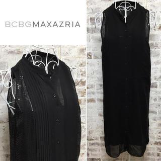 ビーシービージーマックスアズリア(BCBGMAXAZRIA)のBCBG MAXAZRIA シースルー ワンピース キャミソール付き ドレス(ひざ丈ワンピース)