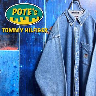 TOMMY HILFIGER - 【トミーヒルフィガー】オールド刺繍ロゴポケットビッグデニムシャツ 90s