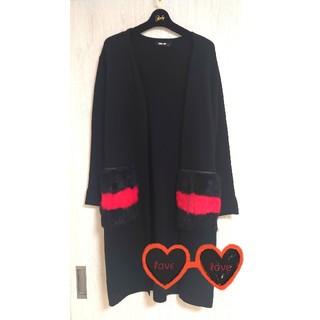 GRACE CONTINENTAL - ⑅⃝♡オシャレ今時ニットポケット付き【赤黒ロングカーデガン】BLACK*°♡