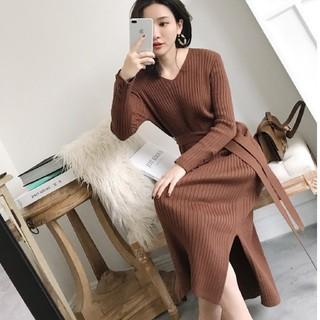 韓国ファッション 秋冬 リブニット ワンピース 長袖 レディース 即日発送