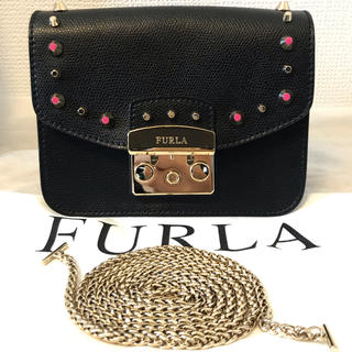 フルラ(Furla)の美品フルラスタッズのショルダーバッグ メトロポリス ポシェットチェーンバッグ限定(ショルダーバッグ)