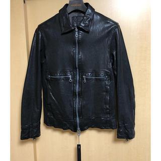 イサムカタヤマバックラッシュ(ISAMUKATAYAMA BACKLASH)の新品バックラッシュ定価21万ジャパンショルダー製品染め襟付きレザーライダース黒M(ライダースジャケット)