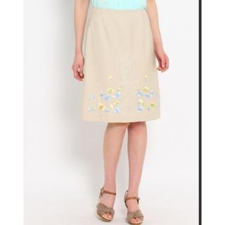 SunaUna - 【SUNAUNA】スーナウーナ お花刺繍スカート 34サイズ ベージュ きれいめ