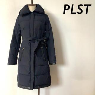PLST - 【美品】PLST ウエストベルト ダウンコート ネイビー