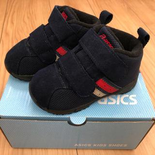 asics - 【訂正】asics アシックス スニーカー ベロア紺色 スクスク 13.5cm