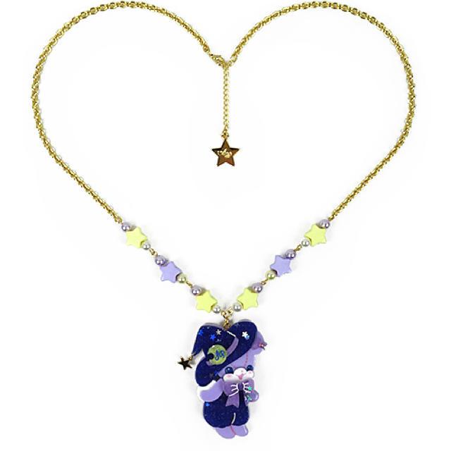 Angelic Pretty(アンジェリックプリティー)のLittle Witchはにかみベアーネックレス ラベンダー レディースのアクセサリー(ネックレス)の商品写真