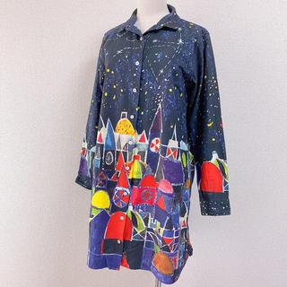 グラニフ(Design Tshirts Store graniph)のgraniph ネイビー 紺 柄シャツ ワンピース 長袖 総柄 夜空 遊園地(ひざ丈ワンピース)