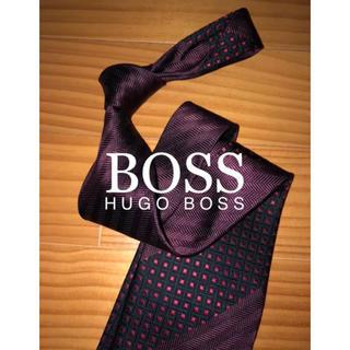 ヒューゴボス(HUGO BOSS)の美品 ヒューゴボス ワインワンポイントストライプ(ネクタイ)