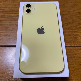 アイフォーン(iPhone)の超美品 iPhone11 128gb イエロー ドコモ版 simロック解除済み(スマートフォン本体)