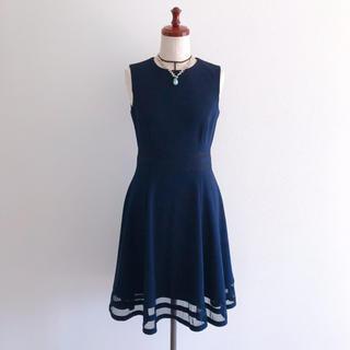 カルバンクライン(Calvin Klein)のCalvin Klein CK カンバンクライン フレアワンピース ドレス 紺(ひざ丈ワンピース)