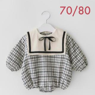 春秋冬 70/80 チェック セーラー襟 ロンパース 女の子 韓国ベビー服