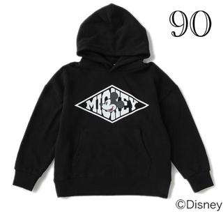 Disney - 【DISNEY】 裏毛 ミッキーデザインビッグパーカー BLACK 90