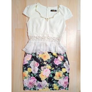 デイジーストア(dazzy store)のキャバドレス ミニドレス ワンピース デイジーストア M 白 黒 黄 花柄(ナイトドレス)