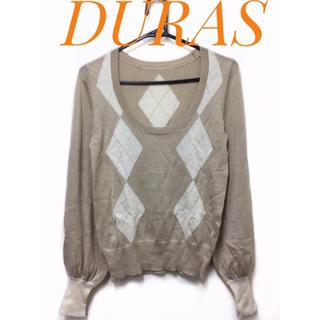 DURAS - DURAS【美品】アーガイル柄 Uネック 長袖 ニット トップス