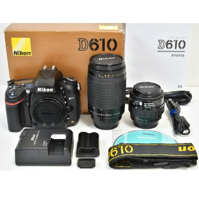 Nikon(ニコン)のNikon D610 標準&望遠レンズセット スマホ/家電/カメラのカメラ(デジタル一眼)の商品写真