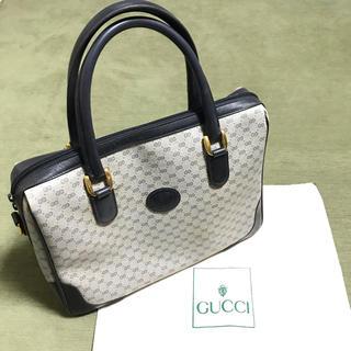 Gucci - オールドグッチGUCCIファスナーマイクロGGハンドバッグ鞄書類鞄にもネイビー