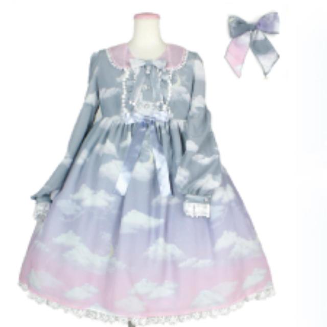 Angelic Pretty(アンジェリックプリティー)のmisty sky グラデーション ピンクグレー クリップセット レディースのワンピース(ひざ丈ワンピース)の商品写真