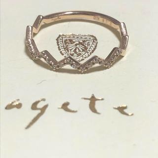 agete - 【美品】アガット K10 ダイヤ ジグザグリング agete