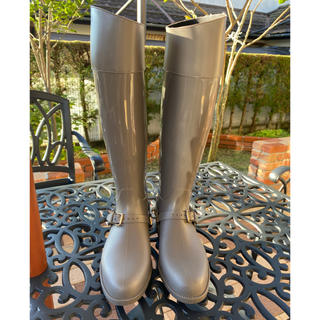 ジミーチュウ(JIMMY CHOO)の1度使用のみ✨ジミーチュウ グレー ロングブーツ レインブーツ (レインブーツ/長靴)