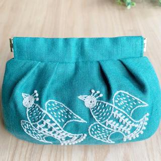 刺繍 バネ口ポーチ 渡り鳥(ポーチ)