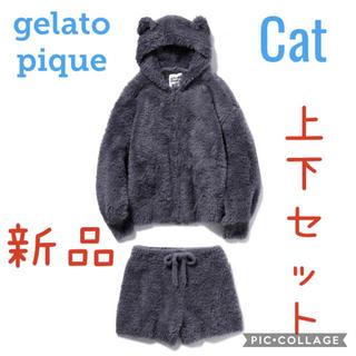 gelato pique - ☆新品・未使用 ジェラートピケ ネコモコパーカ+ショートパンツ 上下セット☆