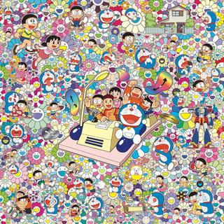 モマ(MOMA)の村上隆ドラえもん新作サイン付「藤子・F・不二雄先生とタイムマシンで何処までも!」(絵画/タペストリー)