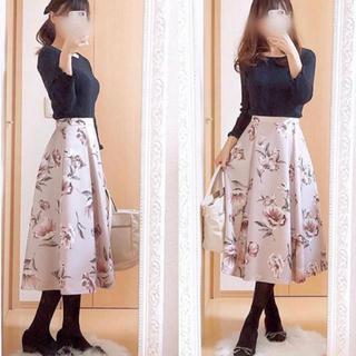 JUSGLITTY - 大人気♡ ジャスグリッティー レトロフラワースカート モカピンク