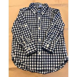 ギャップ(GAP)のGAP ギンガムチェックシャツ 2yrs 95cm ネイビー(ブラウス)