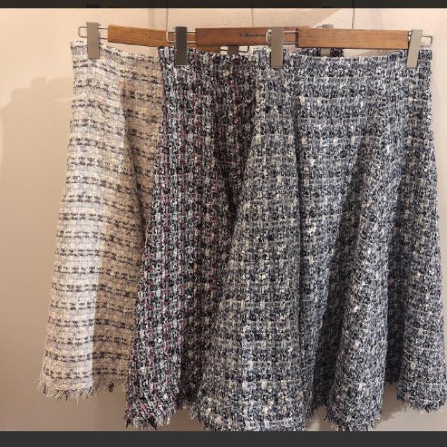 31 Sons de mode(トランテアンソンドゥモード)のツィードスカート♡ラベンダー レディースのスカート(ひざ丈スカート)の商品写真