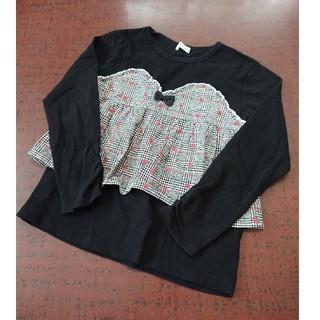 KP - KP ニットプランナー チェック切り替えチュニックTシャツ 130