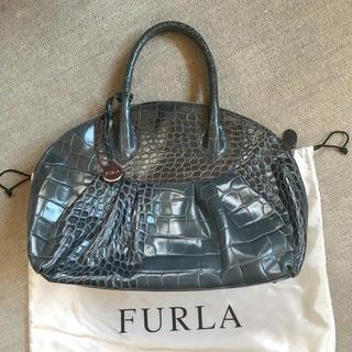 フルラ(Furla)のフルラ FURLA クロコ型押しレザーバッグ(ハンドバッグ)