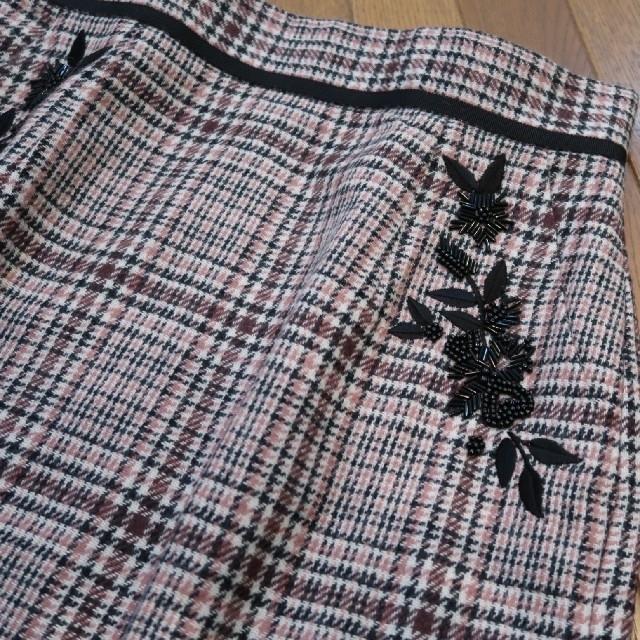 Apuweiser-riche(アプワイザーリッシェ)のApuweiser-riche ポケット刺繍チェックタイトスカート レディースのスカート(ひざ丈スカート)の商品写真