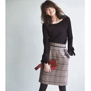 Apuweiser-riche - Apuweiser-riche ポケット刺繍チェックタイトスカート