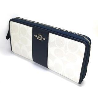 COACH - COACH コーチオフホワイトに黒に近いネイビーのコントラスト美しい長財布