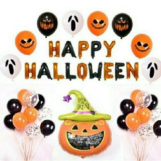 ハロウィン バルーン Happy Hallowen 飾り付けセット箔風船(その他)