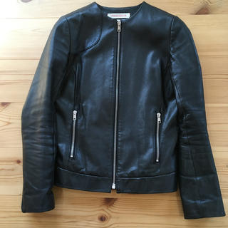 DRESSTERIOR - ドレステリア  ノーカラー革ジャケット 上質 ブラック
