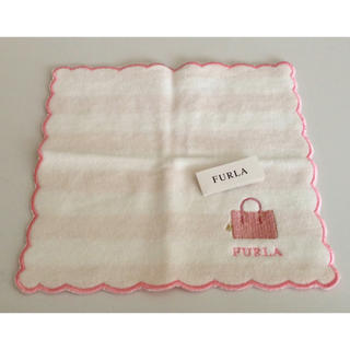フルラ(Furla)のFRULA フルラ タオルハンカチ 新品 ピンク ホワイト(ハンカチ)