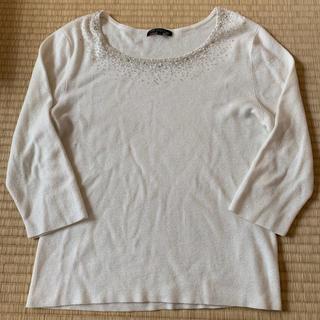 ニジュウサンク(23区)の23区 大きなサイズ44 ラメ ビーズ 七分袖ニット(ニット/セーター)