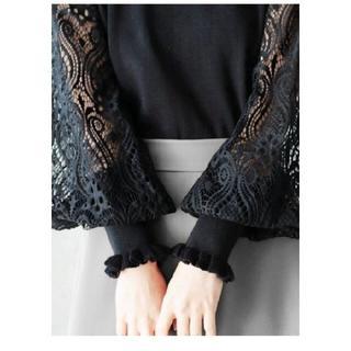 カワイイ(cawaii)の新品 先行販売 cawaii ニット レース ポワン袖 F ブラック(ニット/セーター)