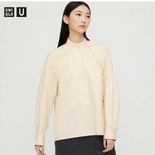 UNIQLO - UNIQLO コットンサテンスタンドカラーシャツ L