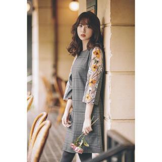tocco - ◆ tocco closet ◆ 袖シースルーお花刺しゅうチェックワンピース