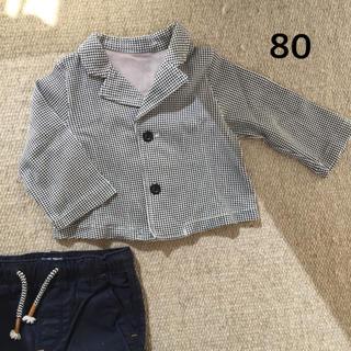 ベルメゾン(ベルメゾン)の千鳥格子柄ジャケット カットソー素材 80(セレモニードレス/スーツ)