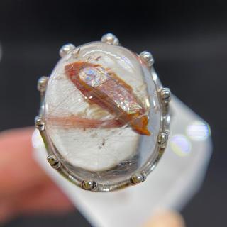 レインボー入り赤いクォーツ  インクォーツ   リング 天然石(リング(指輪))