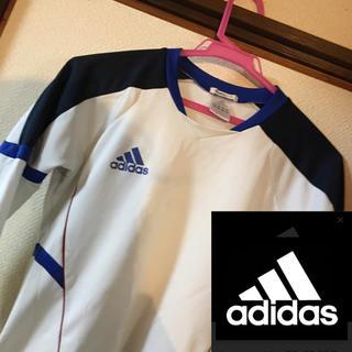 adidas - 美品★adidas★長袖インナーシャツ ホワイト&ブルー 140 早い者勝ち❣️