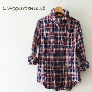 L'Appartement DEUXIEME CLASSE - 美品 アパルトモン チェック柄 シャツ 長袖 シワ加工 白 赤 紺 衿ワイヤー