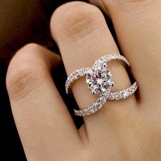 ハリーウィンストン(HARRY WINSTON)の【高品質】レディース 最高級人工ダイヤモンド クロスデザイン リング (リング(指輪))