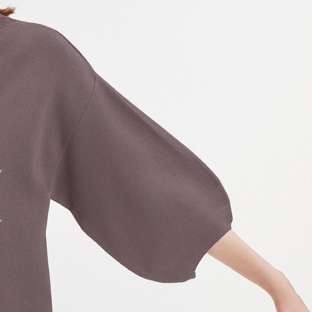 GU(ジーユー)の美品✨ボトルネックパフスリーブセーター(7分袖) レディースのトップス(カットソー(長袖/七分))の商品写真