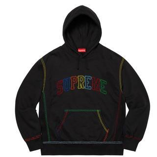 シュプリーム(Supreme)の新品本物BIG STITCH フードスエット 黒 マルチロゴXL(パーカー)