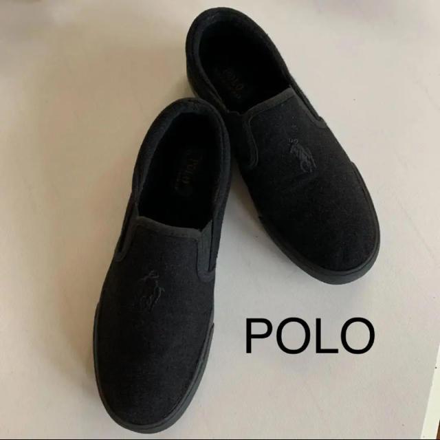 POLO RALPH LAUREN(ポロラルフローレン)のPOLO ポロ ラルフローレン スリッポン 黒 23.5 レディースの靴/シューズ(スリッポン/モカシン)の商品写真