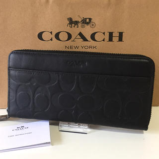 コーチ(COACH)のCOACH コーチ 長財布 ブラック シグネチャー 新品(長財布)